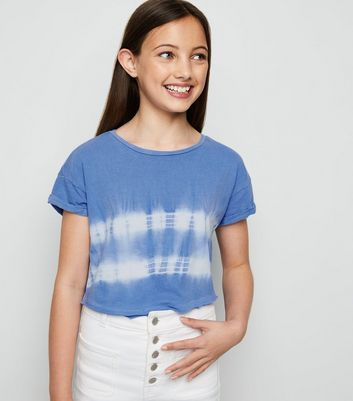 Girls Blue Tie Dye Stripe T-Shirt
