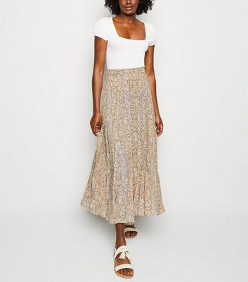 Tall Brown Snake Print Pleated Midi Skirt