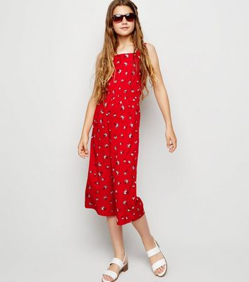 Girls Red Floral Square Neck Jumpsuit