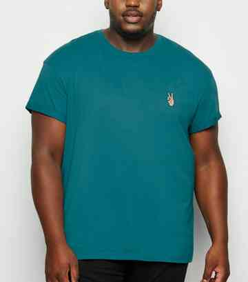 Plus Size Teal Peace Hand Embroidered T-Shirt
