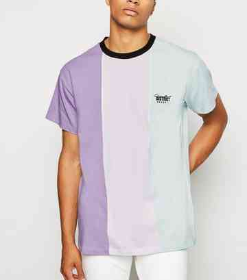 Lilac Vertical Colour Block Slogan T-Shirt