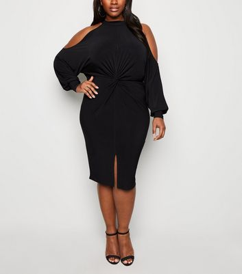 Curves Black Twist Cold Shoulder Dress
