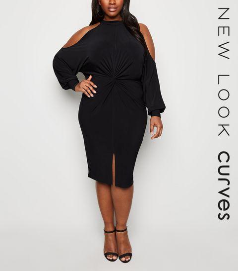 a5b4991b37 ... Curves Black Twist Cold Shoulder Dress ...