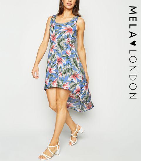 b7c8aa16592fac ... Mela Pale Blue Tropical Dip Hem Dress ...
