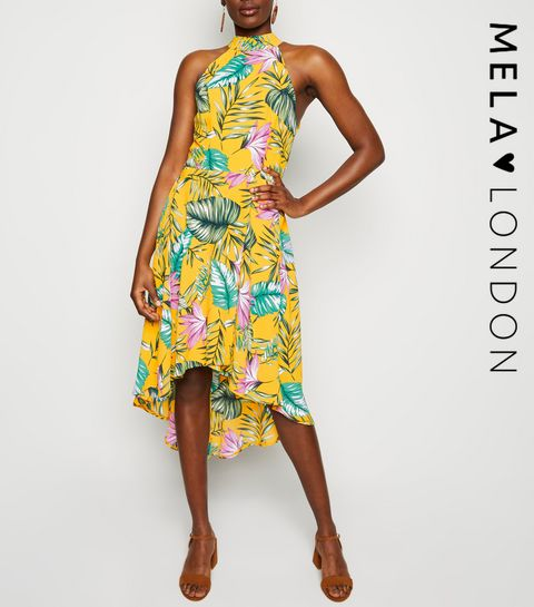 e1ed0722af2d50 ... Mela Mustard Tropical Dip Hem Dress ...