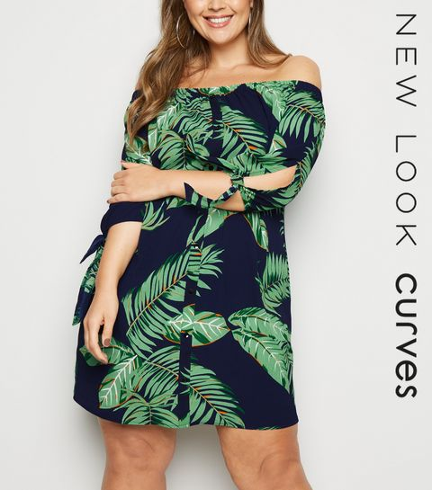 e141ab811e2 ... Curves Navy Palm Print Bardot Dress ...