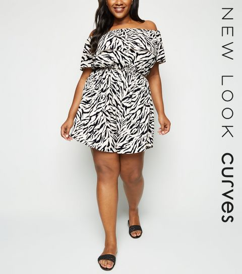 eac0cca3785 ... Curves Off White Tiger Print Bardot Playsuit ...