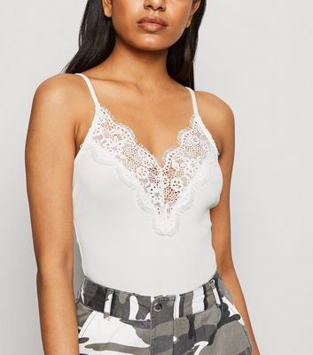 Petite White Ribbed Lace Trim Bodysuit