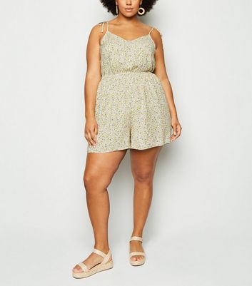 Curves Off White Ditsy Floral Playsuit