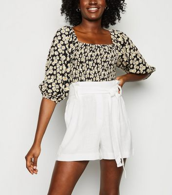 Tall White Linen Look Paperbag Shorts