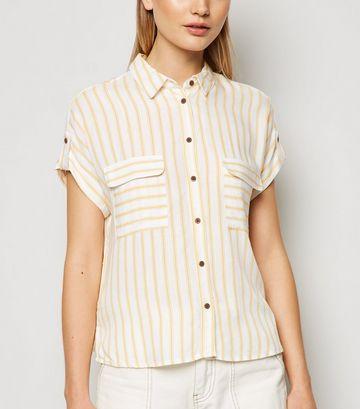 Mustard Stripe Utility Pocket Shirt