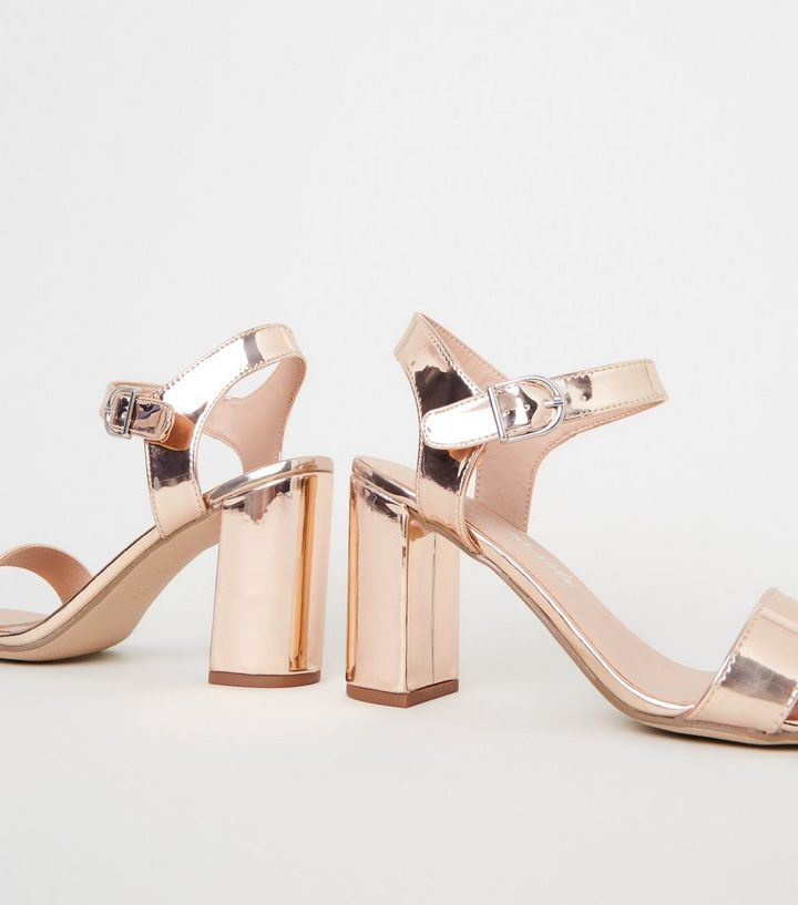 e2789bf4ea9 Rose Gold Metallic 2 Part Block Heels Add to Saved Items Remove from Saved  Items