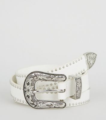 White Leather Look Stud Jeans Belt Add to Saved Items Remove from Saved Items