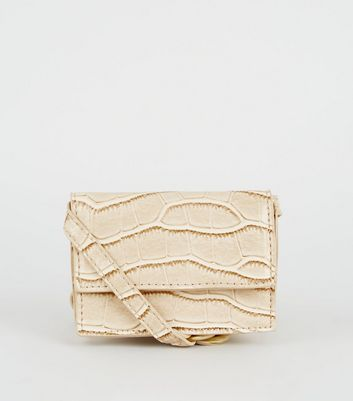 Cream Faux Croc Mini Cross Body Bag
