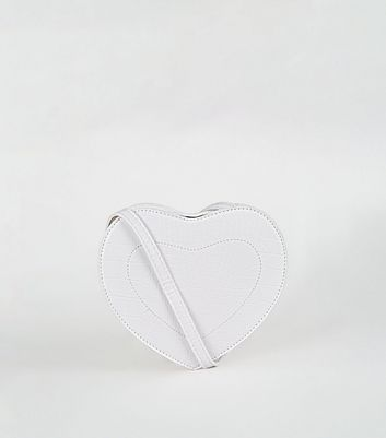 White Faux Croc Heart Cross Body Bag