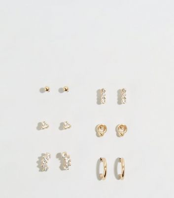 6 Pack Gold Mixed Diamanté Earrings