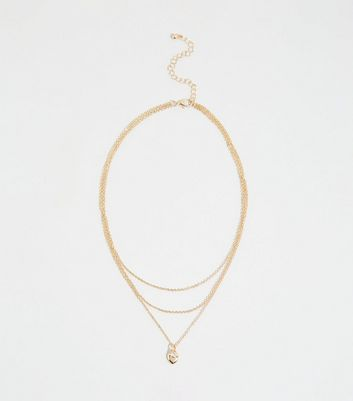 Gold Diamanté Heart Layered Necklace