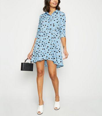 Influence Blue Animal Print Smock Dress New Look