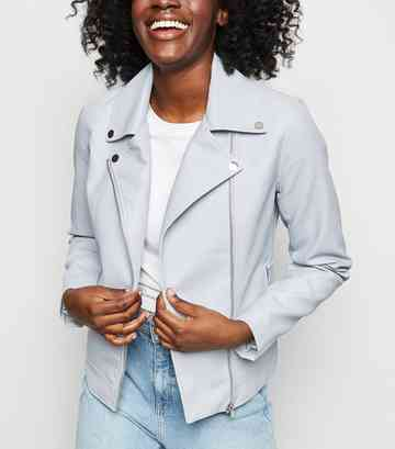 Pale Blue Leather-Look Biker Jacket