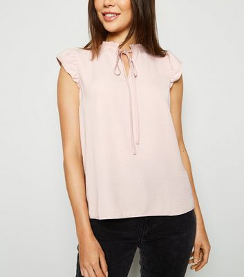 Pale Pink Tie Neck Sleeveless Top