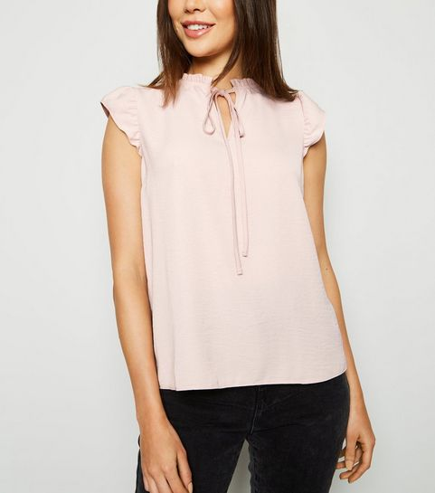 fa4fe5787b8 ... Pale Pink Tie Neck Sleeveless Top ...