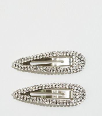 2 Pack Silver Diamanté Hair Clips
