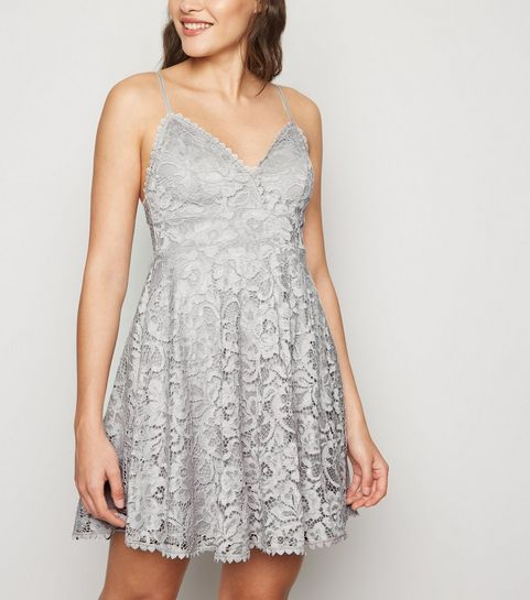 721e2fb2cf98 ... Grey Lace Bustier Skater Dress ...