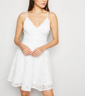 White Lace Bustier Skater Dress