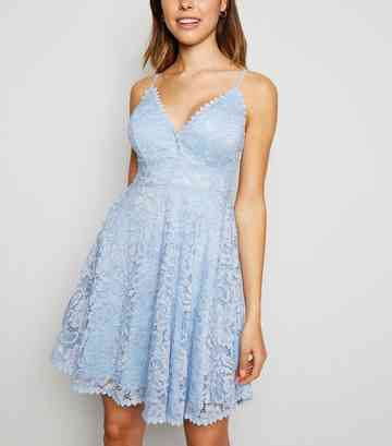 Pale Blue Lace Bustier Skater Dress