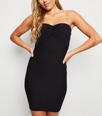 Black Ribbed Twist Front Strapless Dress