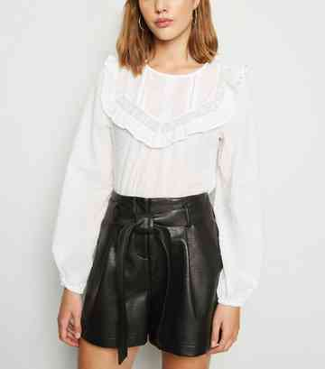 Black Leather-Look Paperbag Shorts
