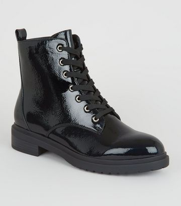 Wide Fit Black Patent Lace Up Hiker Boots