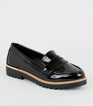 Black Patent Chunky Cleated Sole Loafers