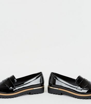 Black Patent Chunky Cleated Sole