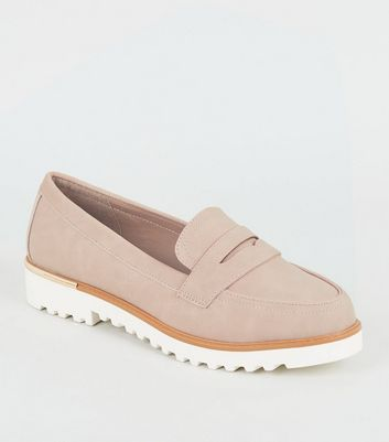 Nude Suedette Chunky Cleated Sole Loafers