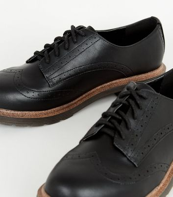 Black Leather-Look Chunky Lace Up