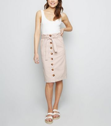 Ecru Button Up Paperbag Denim Midi Skirt