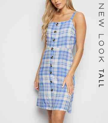 Tall Blue Check Button Front Dress