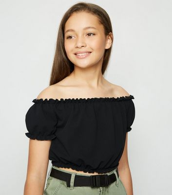 Girls Black Scuba Bardot Top