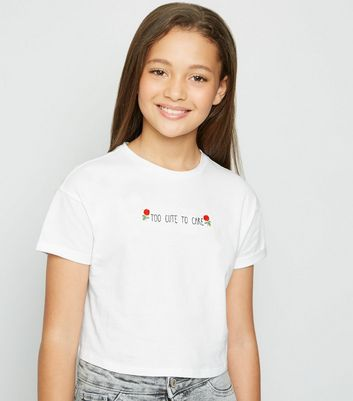 Girls White Too Cute To Care Slogan T-Shirt