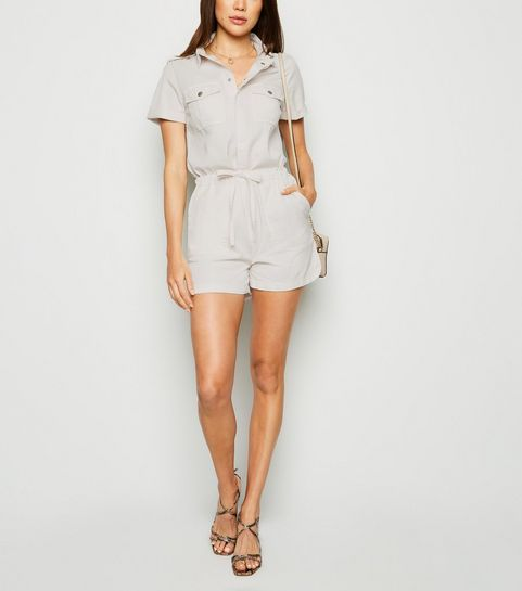 05edc97535a261 ... Off White Denim Short Sleeve Utility Playsuit ...