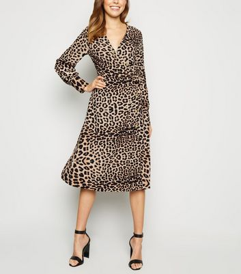 Blue Vanilla Brown Leopard Print Shirt Dress