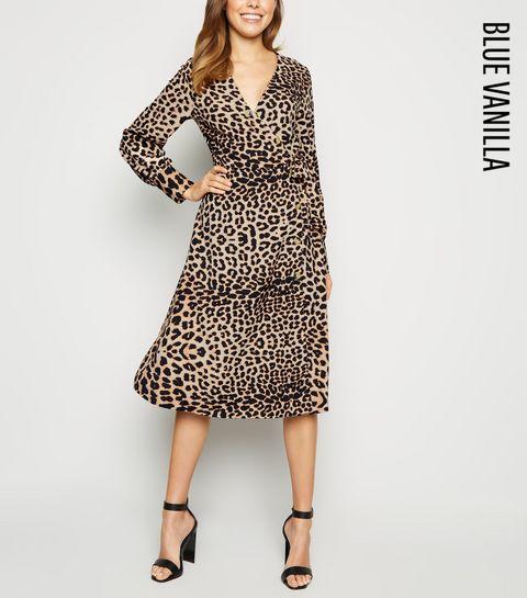 c996362e24 ... Blue Vanilla Brown Leopard Print Shirt Dress ...
