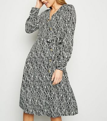 Blue Vanilla Black Zebra Print Shirt Dress