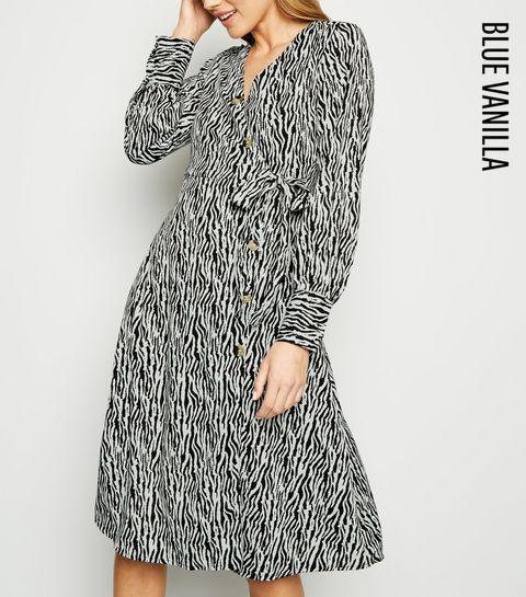 d5183bb001 ... Blue Vanilla Black Zebra Print Shirt Dress ...