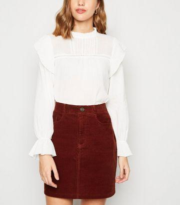 Burgundy Cord High Waist Mini Skirt