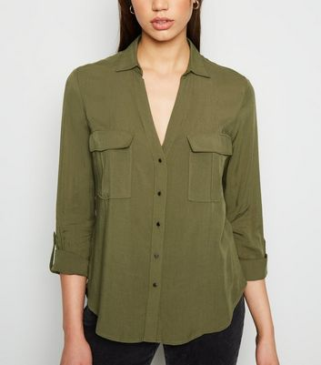 Khaki Utility Pocket Collared Shirt