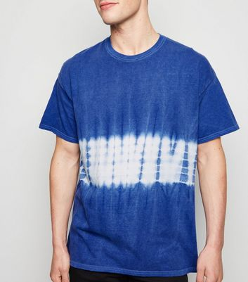 Blue Tie Dye Colour Block T-Shirt