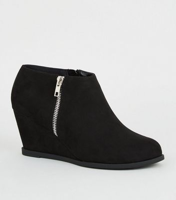 Girls Black Suedette Wedge Shoe Boots