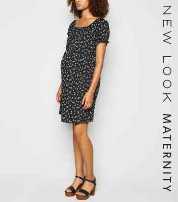 Maternity Black Ditsy Floral Square Neck Dress